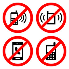 no cell phone sign icon great for any use, Vector EPS10.