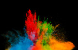colored dust explosion on black background - 80741530