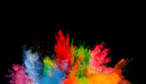 colored dust explosion on black background - 80741535