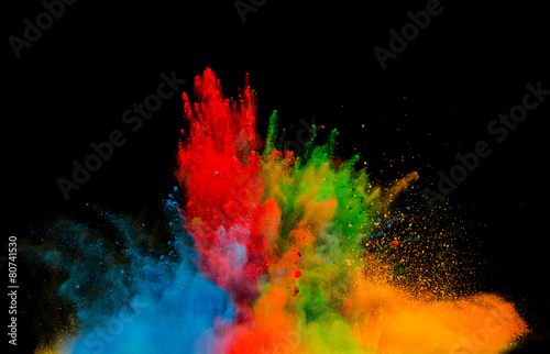 canvas print picture colored dust explosion on black background