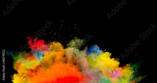 colored dust explosion on black background - 80741552