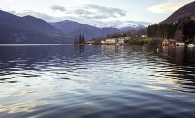 Lake Orta, early springtime panorama. Color photo