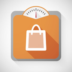 Weight scale with a shopping bag