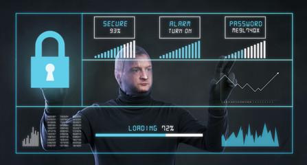 Thief stealing information, Studio shot on black background.