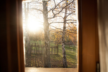window view on the countryside in the morning