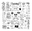 doodle pirate elememts, vector illustration. - 80743532