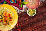 Background: Display of Tacos and a Margarita for Cinco De Mayo