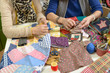two women working on their quilting - 80743739