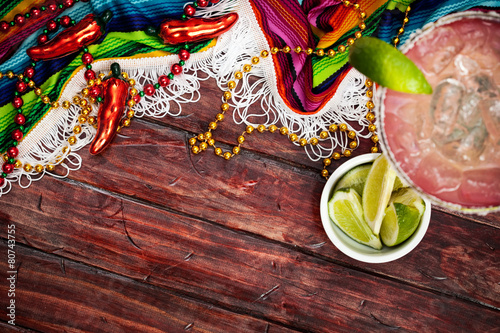 Fotobehang Cocktail Background: Cinco De Mayo Celebration With Margarita