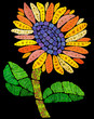 Mosaic sunflower in night