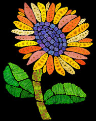 Mosaic sunflower in night