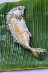 mackerel on banana leaf