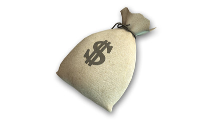Bag of money full of dollars with US dollar sign