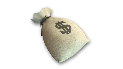 Money bag with US dollar sign on white background