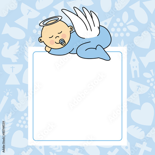 Fototapeta baby boy sleeping. blank space for photo or text