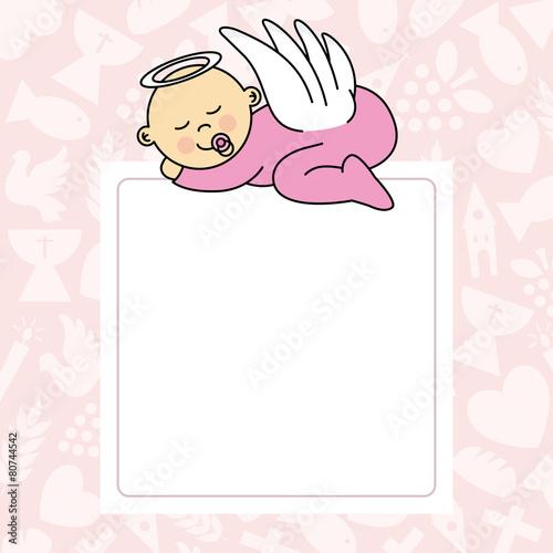 Fototapeta baby girl sleeping. blank space for photo or text
