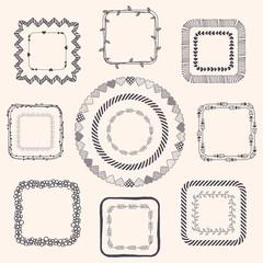 Handsketched Doodle Frames. Design Elements