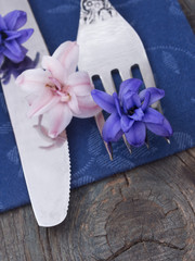 fork and knife with flowers, spring arrangement