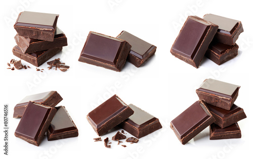 Pieces of dark chocolate - 80746516