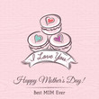 Pink Mother's Day card with  macaroni, ribbon and  wishes text - 80747147