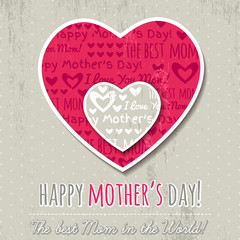 Grey background with  two hearts  for Mother's Day