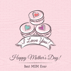 Pink Mother's Day card with  macaroni, ribbon and  wishes text