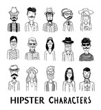 Fototapety Hipster people icon set. vector illustrations.