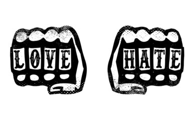 love and hate hands with brass knuckle duster fists