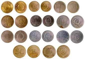 different old yugoslavian coins