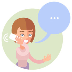 This brown-haired woman talking on the phone. Speech bubble.