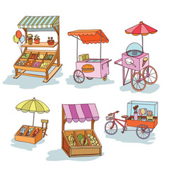 set of stall shop and cart, vector illustration