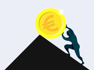 Sisyphus, man rolling and pushing euro coin uphill