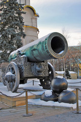 Tsar Cannon (King Cannon) in Moscow Kremlin in winter.