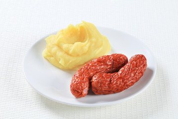 Mashed potato and sausages