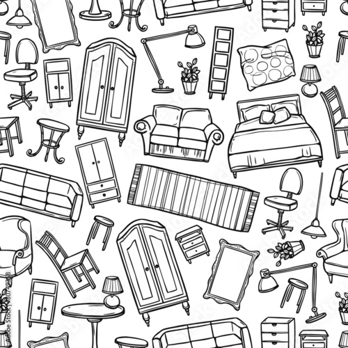 Furniture Seamless Pattern - 80749358