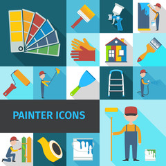 Painter icons set flat shadow