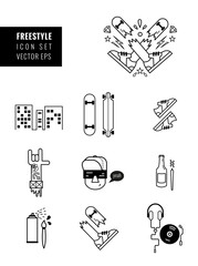 Freetime icons set of teenagers.
