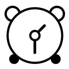 vector black alarm clock icon on white background.