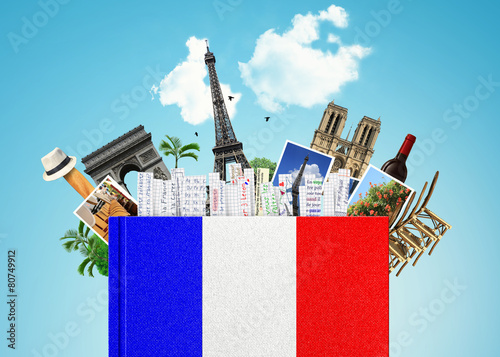 French language, the book with the French flag and bookmarks