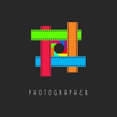 Frame of the film logo, colored camera lens aperture