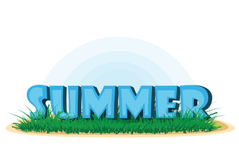 Summer text, vector illustration. Summer letters on the grass