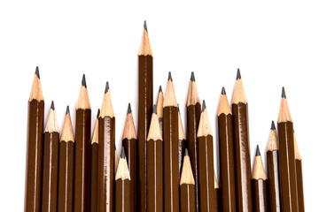 brown wooden pencil arrange on white background