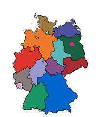 kd1 KarteDeutschland - Bundesländer farbig - ohne Namen - g3480