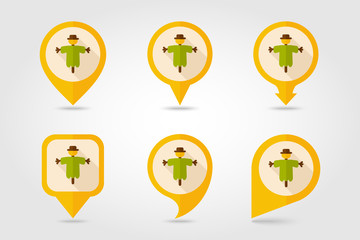 Scarecrow flat mapping pin icon with long shadow
