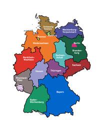 kd2 KarteDeutschland - Bundesländer farbig - mit Namen - g3481