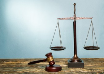 Scale. Law scales on table. Symbol of justice