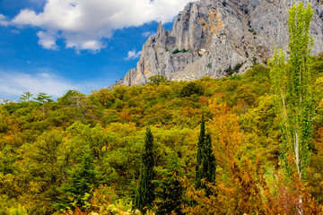 Rocky mountain in autumn