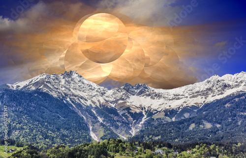 Fantastic sunrise over mountain valley - 80753147