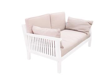 Modern wooden garden sofa under the white background