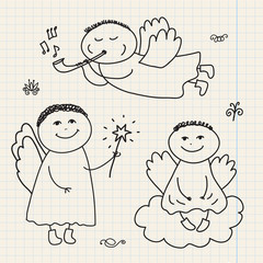 vector set of doodle hand drawn christmas cartoon angels